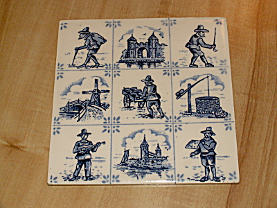 Villeroy & Boch Blue & White Pottery Ceramic Art Tile Trivet Plaque