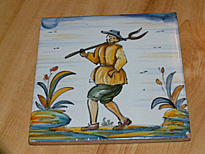 Hand Painted Spanish Spain Ceramic Tile Trivet Plaque Man Pitchfork