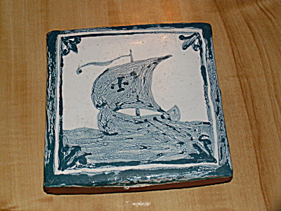 Thick Small Ceramic Art Tile Trivet Plaque Viking Ship Terra Cotta