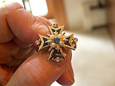 Vintage Coro Maltese Cross Small Pin Brooch, Blue W/faux Pearls