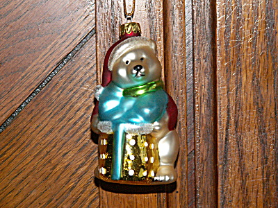 Vintage Holiday Polar Bear Mercury Glass Christmas Ornament Red Coat (Image1)