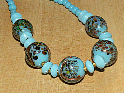 Vintage Glass Bead Necklace Turquoise Copper Swirls & Speckles