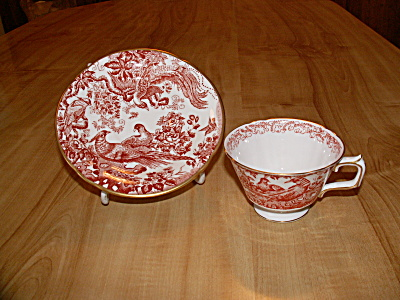 Royal Crown Derby China Cup & Saucer Red Aves A 74 Bloomingdale's