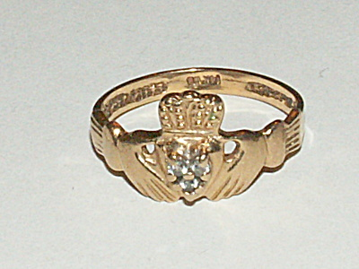 Vintage 14k Yg W/3 Tested Diamonds Irish Celtic Claddagh Ring Size 6