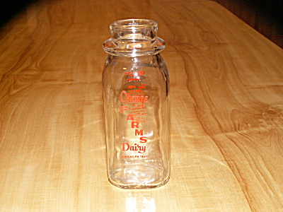 1/2 Pint Orange Farms Dairy Milk Bottle Dallas, Pa, Luzerne County