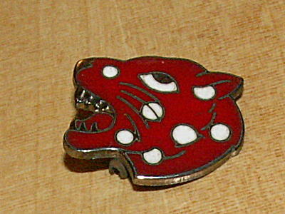 Vintage Sterling Silver Enamel Pin Red Leopard Head White Spot Brooch