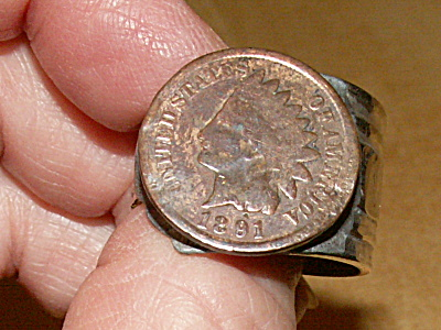 Real 1891 Indian Head Penny Cent Coin Spoon Ring Jewelry Sp Size 11