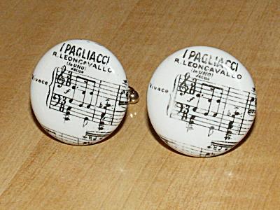I Pagliacci Opera Vintage Pair Porcelain Men's Jewelry Cufflinks (Image1)