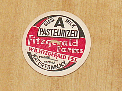 Vtg Never Used Milk Bottle Cap Insert Fitzgerald Farms Watertown Ny