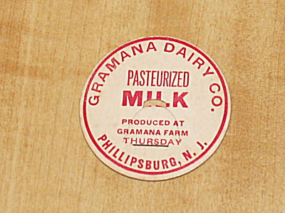 Vtg Never Used Milk Bottle Cap Insert Gramana Dairy Phillipsburg, Nj