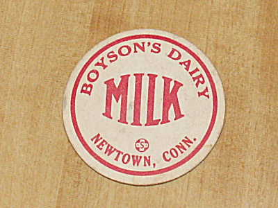 Vintage Milk Bottle Cap, Boyson's Dairy, Newtown, Ct