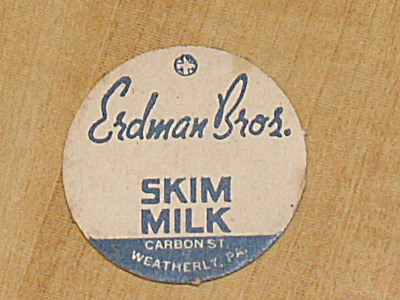 Vintage Skim Milk Bottle Cap, Erdman Bros., Weatherly, Pa