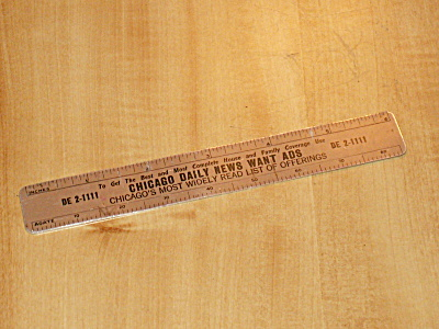 1949 Advertising Metal 6 Inch Ruler Chicago Daily News Want Ads (Image1)