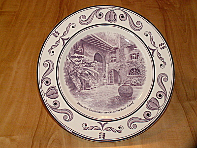 Crown Ducal China Plate, Scenes New Orleans La Brulatour Courtyard