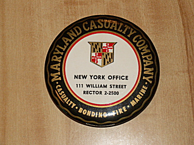 Advertg Paperweight Pocket Mirror Maryland Casualty Insurance Nyc Ny