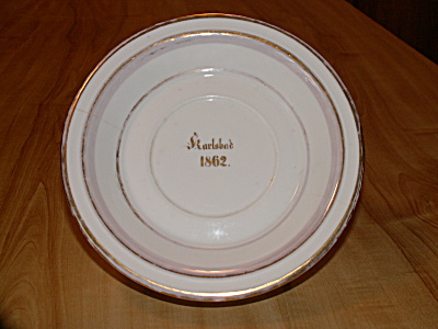 1862 Karlsbad Germany Antique China Low Bowl F&m Bohemian Czech
