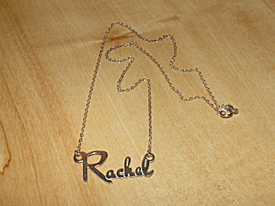 Vintage 925 Sterling Silver Name Necklace Jewelry Rachel 17 Inches A (Image1)
