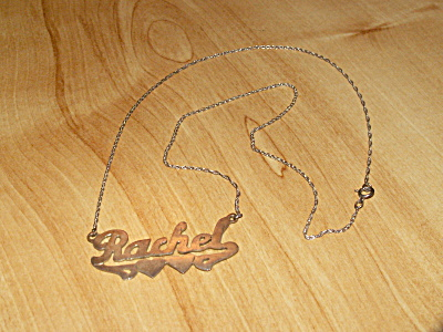 Vintage Sterling Silver Name Necklace Jewelry, Rachel 19.5 Inches B