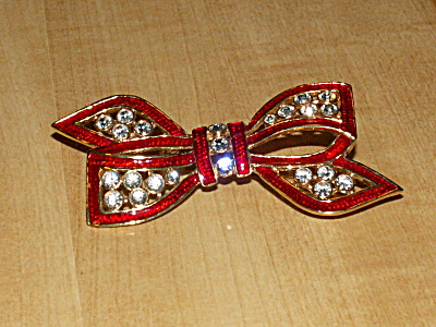 Sparkly Vintage Bow Pin Costume Jewelry Red, Gold Tone & Rhinestones