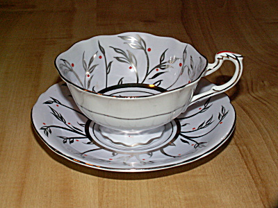 Vintage Paragon China Tea Cup & Saucer Inside Decor Orchid Silver Red
