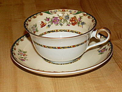 Vintage 1929 Kpm China Germany Kingsly Tea Cup & Saucer Inside Floral
