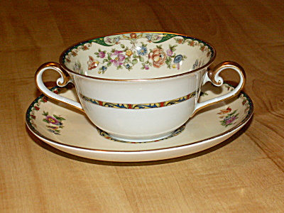 1929 Kpm China Germany Kingsly Bouillon Cup & Saucer Inside Flowers