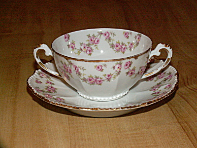 Antique Elite Limoges China Bouillon Cup & Saucer Roses 2 Handles (Image1)