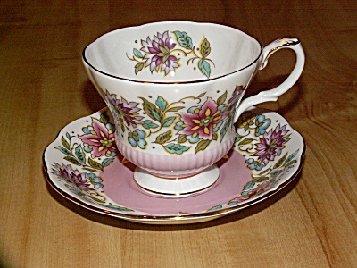 1970s Royal Albert Bone China Teacup & Saucer Jacobean Pink Flowers