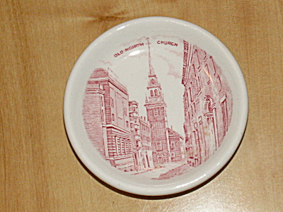 Souvenir China Dish Old North Church Boston Ma Jonroth Adams Revere