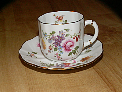 1970s Royal Crown Derby Bone China England Cup & Saucer Derby Posies
