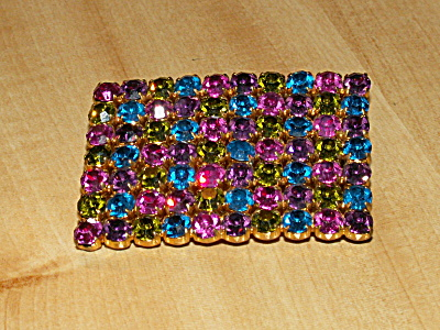 Nifty Multi-color Vintage Austria Pin Brooch 70 Bracketed Rhinestones
