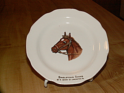 Vintage Advertising Plate Horse Singleton's Shoes Store Lancaster Pa