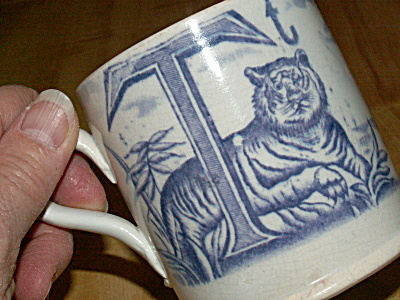1800s Antique Child Mug China Alphabet Letters S T Ship Swan Tiger