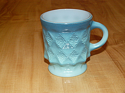 Vintage Fire King Kimberly Diamond Blue Dotted Anchor Hocking Mug