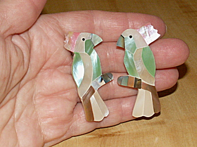 Parrots Cockatoo Artisan Handmade Dyed Mother of Pearl Shell Earrings (Image1)