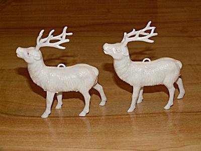 Pair Mid Century Christmas Ornaments Figures Wht Reindeer Celluloid (Image1)