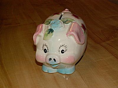 Neat Vintage Pottery Ceramic Piggy Bank Human-type Face, Roses Decor (Image1)