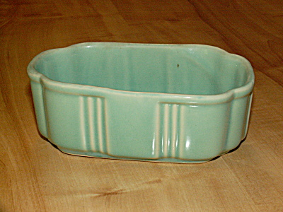 Unmarked Vintage Mid Century Modern Pottery Small Low Planter Green