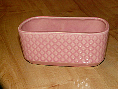 Vintage Mid Century Modern Pottery Small Planter Pink Marked #419 US (Image1)