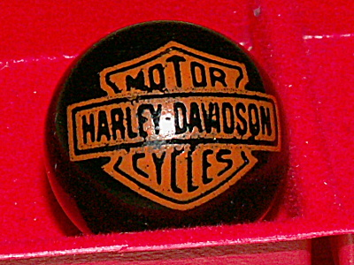 Harley Davidson Motorcycles Advertising Marble Bar Shield Orange Blk