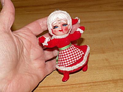 Vintage Hanging Christmas Tree Ornament Figure Mrs. Santa Claus Rubber (Image1)