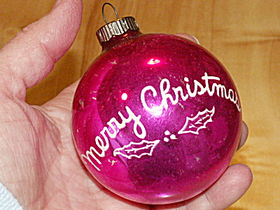 Vintage Shiny Brite Glass Tree Ornament Merry Christmas Ball  (Image1)