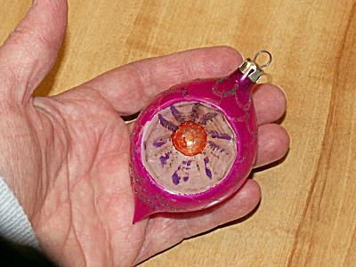 Vtg Poland Glass Christmas Tree Ornament Tear Drop Indent Pink/Purpl C (Image1)