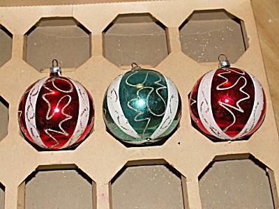 3 Vintage West Germany Glass Christmas Balls Red Blue Glitter Swirls (Image1)