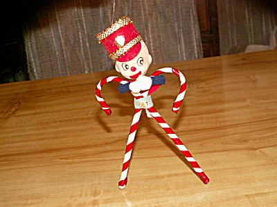 Vintage 1960s Candy Cane Person Man Christmas Tree Hanging Ornament (Image1)