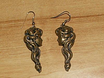 Vintage Brass Pierced Dangle Drop Earrings Girl Lady Head Long Hair (Image1)