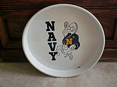 Vtg US Naval Academy VA Navy Metal Beer Tray Bill the Goat Mascot (Image1)