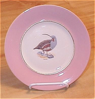 Sterling China Mountain Quail Bird Plate, Arthur Singer & Carl Otto