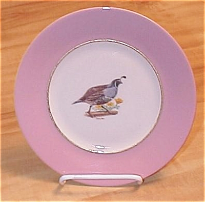Sterling China California Quail Bird Plate, Arthur Singer & Carl Otto