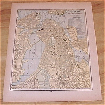 1893 Antique Maps, USA, Boston, Philadelphia, NJ & Baltimore (Image1)